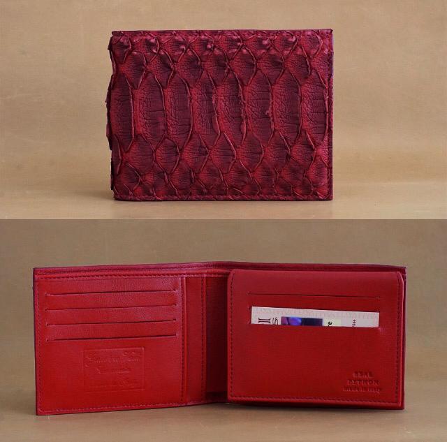 488fa4605a (03) Portafoglio artigianale vero pitone rosso